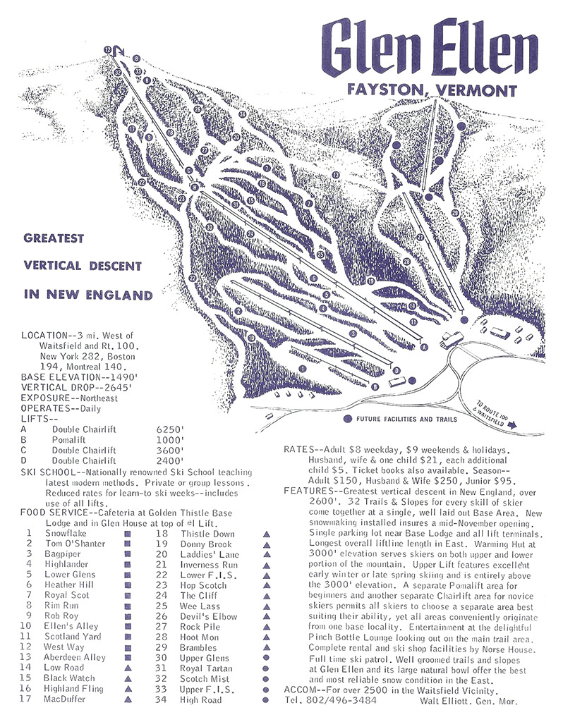Glen Ellen Trail Map - 1968